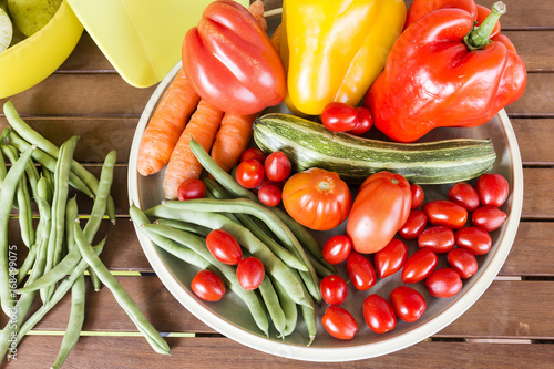 Summer vegetables on wooden background Canvas Print