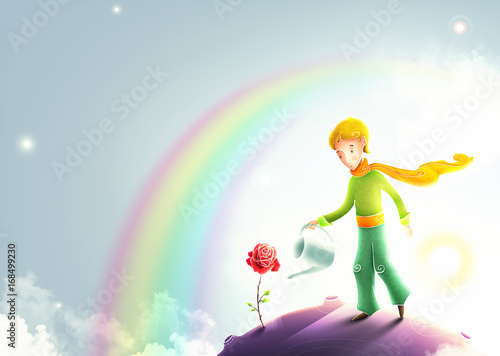 Little prince watering a ro...