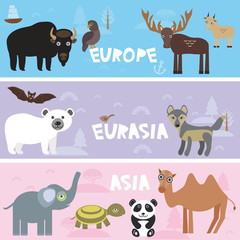 Cute animals set bison panda goat polar bear Camel turtle bat deer wolf elephant, kids background Europe Asia Eurasia animals, bright colorful banner. Vector