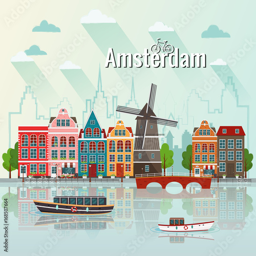Photo  Vector illustration of Amsterdam. Old european city.