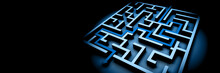 Blue Maze Structure On Black Background With Arrow Showing The Path Through The Maze (3d Illustration Banner)