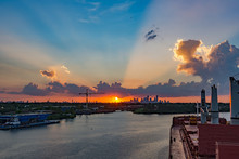 Sunset At Houston Docks, Texas