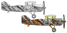 Airplane With Ethnic Doodle Pa...