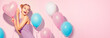 Leinwandbild Motiv Beauty joyful teenage girl with colorful air balloons having fun over pink background
