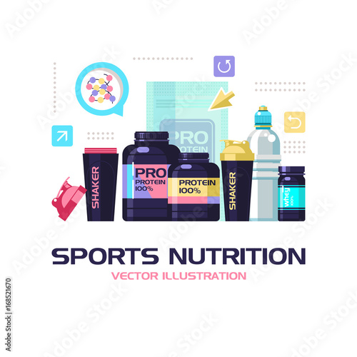 protein shakers dumbbell energy drinks sports nutrition fitness vector illustration