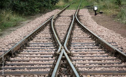 Weiche, Detail einer Weiche, Eisenbahn, Transport