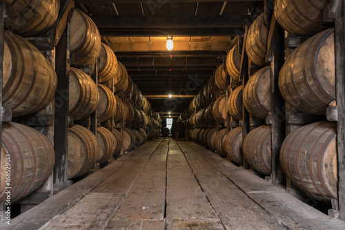 Low Angle of Bourbon Aging Warehouse Walkway