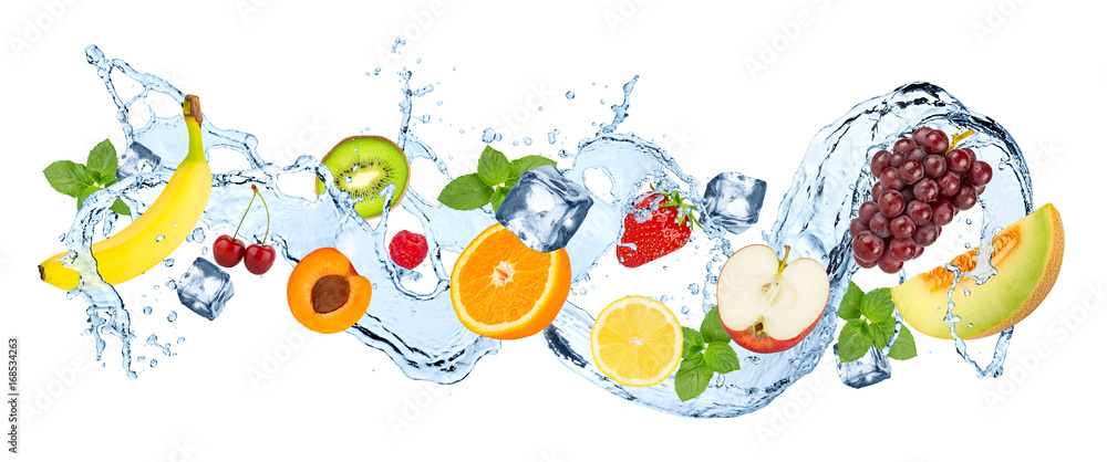 Fototapeta water splash panorama with various fruits ice cubes and fresh peppermint leafs isolated on white background