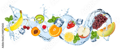 Poster Fruit water splash panorama with various fruits ice cubes and fresh peppermint leafs isolated on white background