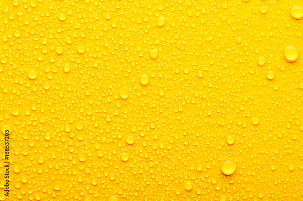 Fototapety, obrazy: water drops on a yellow background