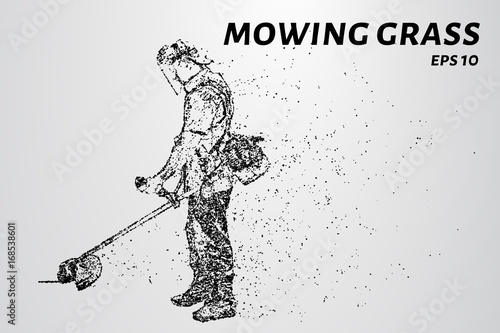 Staande foto Schilderingen Mowing the grass from the particles. Silhouette mows the grass consists of dots and circles. Vector illustration.