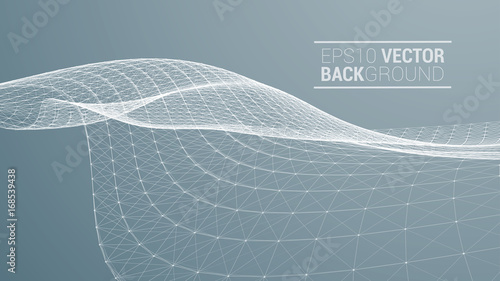 Aluminium Prints Dark grey Wireframe polygonal landscape