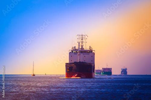 Merchant ships. Fairway of sea ships.