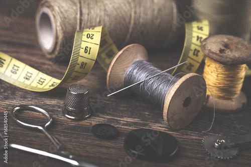 Sewing instruments, threads, needles in vintaae style #168540445