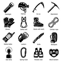 Speleology Equipment Icons Set, Simple Style
