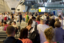 Closeup Queue Of Europen People Waiting At Boarding Gate At Airport