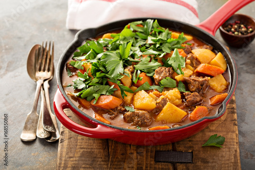 Fotografie, Obraz  Stewed beef with potatoes, carrot and parsley