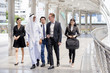 Business people and Arab people have a meeting together. People talking for Arab with business project with team. Business people working concept.