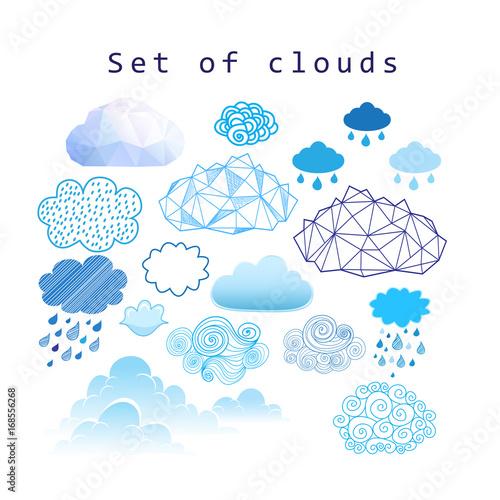 Fényképezés  Vector set of different clouds