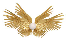 Six Gold Wings On White Backgr...