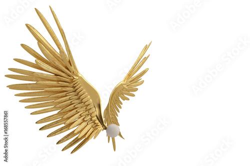 Gold wings on white background.3D illustration. Wallpaper Mural