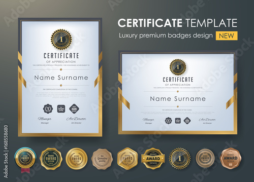 Cuadros en Lienzo certificate template with luxury pattern,diploma,Vector illustration and vector Luxury premium badges design,Set of retro vintage badges and labels