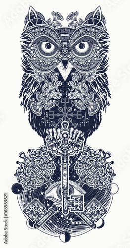 Owl Tattoo And T Shirt Design Owl Vintage Crossed Keys And All