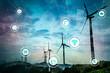 Leinwandbild Motiv Renewable energy and Internet of Things. Smart factory. Smart energy. Smart grid concept.