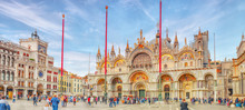Square Of The Holy Mark (Piazza San Marco) And St. Mark's Cathedral (Basilica Di San Marco) At The Night Time. Venice, Italy.