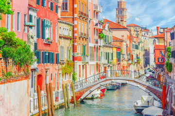 Fototapeta Wenecja Views of the most beautiful channels of Venice, narrow streets, houses.