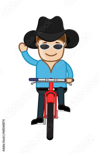 Poster Ouest sauvage Cartoon Cowboy on Cycle