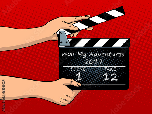 Canvas-taulu Movie clapperboard pop art vector illustration