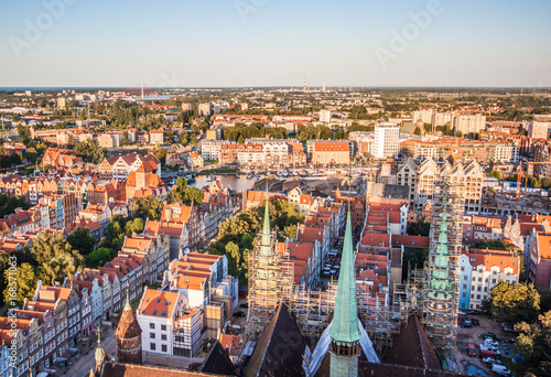 Keuken foto achterwand Antwerpen Cityscape aerial view on the old town on the sunset in Gdansk, Poland