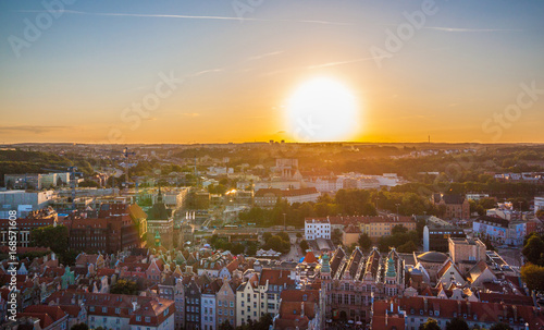 In de dag Centraal Europa Cityscape aerial view on the old town on the sunset in Gdansk, Poland