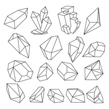 Geometric 3d Crystal Line Shapes Vector Set