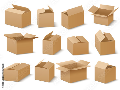 Fotografie, Obraz Open and closed cardboard boxes vector set