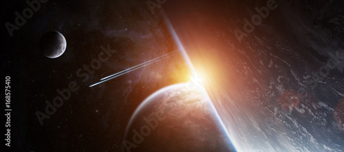 Fototapety, obrazy: Sunrise over distant planet system in space 3D rendering elements of this image furnished by NASA