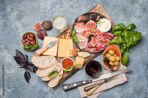 Italian antipasti wine snacks set Wallpaper Mural