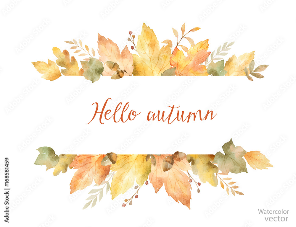 Fototapety, obrazy: Watercolor autumn vector banner of leaves and branches isolated on white background.