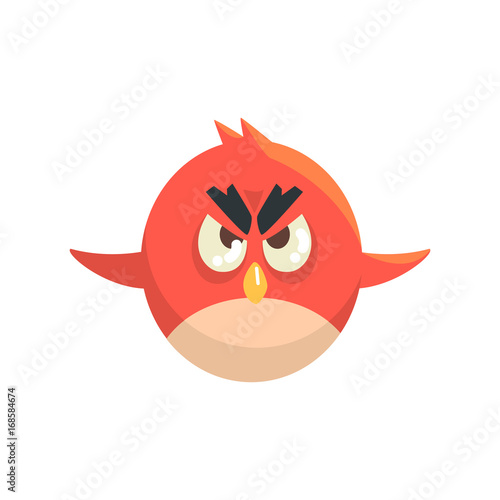 Fotografie, Tablou  Cute little funny red chick bird flying colorful character vector Illustration