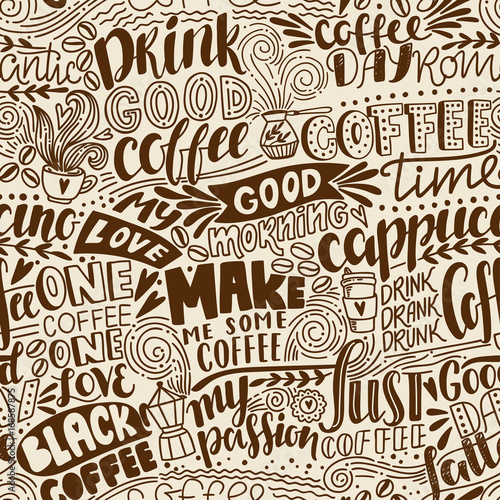Платно  Seamless lettering coffee pattern with quotes