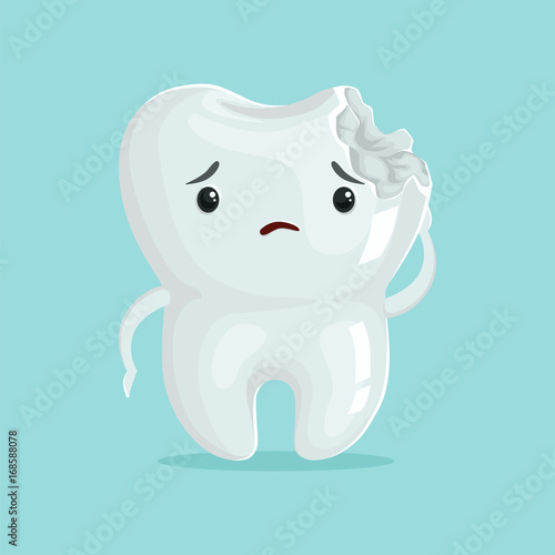 Cute sad cavity cartoon tooth character, childrens dentistry, dental care concep Fototapeta