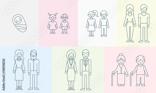 Vászonkép People of different ages vector illustration for infographic