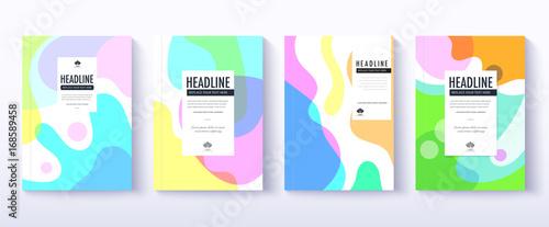Obraz Fluid color covers design. transformation of fluid color. cover design set. - fototapety do salonu