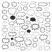Hand Drawn Set Of Speech Bubbles On White Background