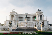 Beautiful Altar Of The Fatherland (Altare Della Patria, Known As The National Monument To Victor Emmanuel II Or II Vittoriano ) At Sunset.Famous Roman Landmark. Piazza Venezia. Rome. Italy. Europe.