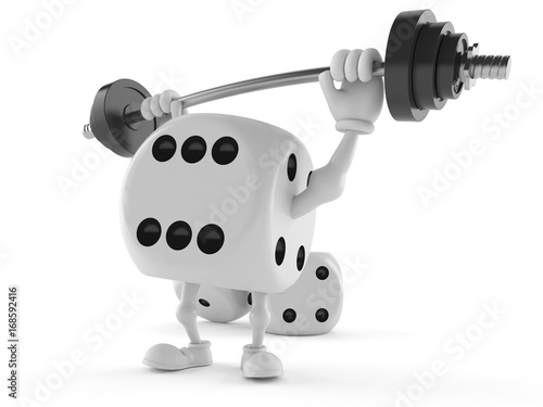 Dice character lifting heavy barbell плакат