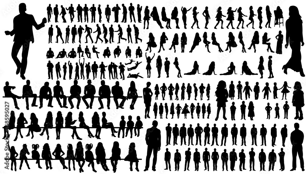 Fototapeta isolated, a collection of silhouettes of people men and women