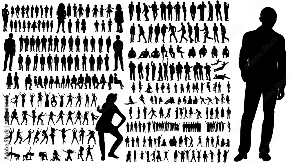 Fototapeta  collection of silhouettes of people men and women