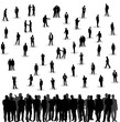isolated, a collection of silhouettes of men, business, stand, sit